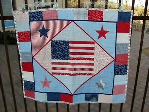 """Handmade American Flag Lap Throw Blanket Small Pieced Quilt 43"""" x 35"""""""