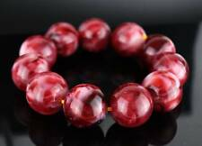 Collectable Chinese Amber Hand Carving Same Size Smooth Beads Delicate Bracelet
