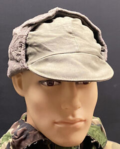 German Army Military Cold Weather Olive Green Field Cap Hat With Ear Covers