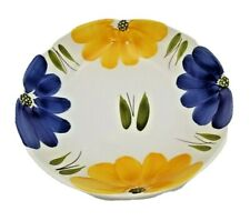 La Primula Maxam  Serving Bowl Yellow & Blue Floral, Hand Painted, Italy