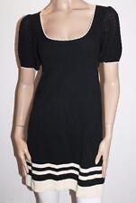 Shilla Designer Black Knitwear Short Sleeve Sweater Dress 10-S BNWT #SX29