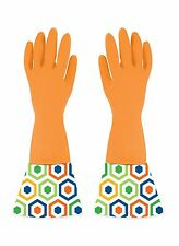 Boston Warehouse Retro Hex Latex Rubber Cleaning Gloves