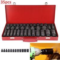 "35pcs 1/2"" Deep Impact Metric Drive  Socket Set Car Garage Tools 8-32MM UK"