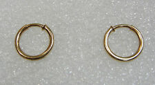 14K YELLOW GOLD 3/4 INCH TUBULAR HOOP EARRINGS N68-F
