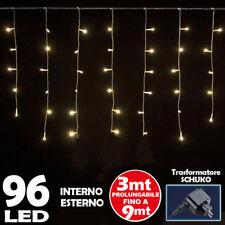 Tenda Luminosa Natale 96 LED Luci Bianco Caldo FLASH 3 MT Esterno Prolungabile