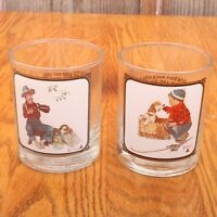 2 Vintage Saturday Evening Post Norman Rockwell Glasses Bar Ware