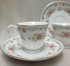 Lovely Vintage Pair Of China Demitasse Cups & Saucers Dainty Floral Pattern!