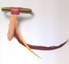 PRADA mujer señora Pluma Pulsera Elástico cobalto rojo/Naranja