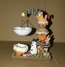 YANKEE CANDLE  GINGERBREAD CHRISTMAS CUPCAKES SNOWMAN HANGING TART BURNER NWT