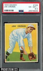 1933 Goudey #109 Joe Cronin Washington Senators PSA 6.5 EX-MT+