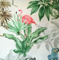 Flamingo Birds Flowers Amazon Cotton Linen Printed Outdoor Fabric Sold by Metre
