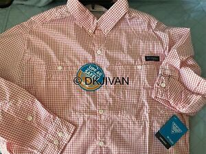 Columbia PFG Super Tamiami Longsleeve Red Spark Gingham Fishing Shirt M Mens $64
