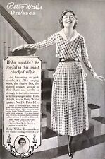 1918 Betty Wales Dresses Women Silk Waist Belt Shirred Pocket Vintage Print Ad