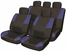 Deluxe Blue black Leather Look Pad 11pc Car Seat Cover Set Split Rear Head Rests