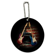 Electric Guitars American USA Flag Rock and Roll Round Wood Luggage ID Tag