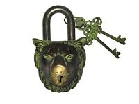 Vintage Antique Style Brass Handcrafted Lion Shape 2 Key Padlock,Collectibles