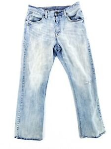 Arizona 34x34 Boot Cut Blue Jeans Classic Denim Casual Work Light Wash Distress