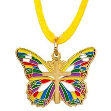 Gold Butterfly with Cross Pendant Necklace Multicolored Christian
