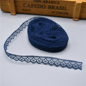 5 yards Lace Ribbon Tape Width 14MM Trim Fabric DIY Embroidered lace(Navy blue)