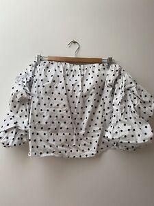 Bardot White And Black Polka Dot Summer Off The Shoulder Top - Size 12