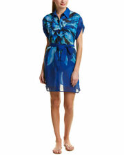 Gottex Blue Multi Lanai Shirt Dress Cover-Up, Sz L  $198