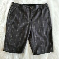 Cutter & Buck Womens Sz 10 Gray/Black/Yellow Plaid Golf Bermuda Stretch Shorts