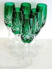6 AJKA ODESSA EMERALD CASED CUT TO CLEAR CRYSTAL CHAMPAGNE FLUTES Set 6