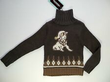 OOXOO PULL CHIEN MIMIE MARRON 50 % MERINOS 5 ANS SKIING ON THE MOON NEUF
