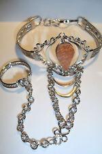 Peruvian Alpaca Silver & Gemstone Slave Bracelet~Orange Jasper~T96~uk seller~