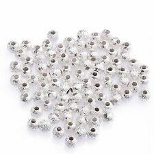 80/100Pcs New Gold/Silver Plated Round Copper Stardust Ball Spacer Beads 3/4mm