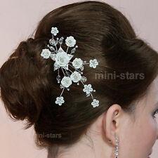 sposa matrimonio artigianale bianco ceramica rosa cristallo PETTINE SLIDE t1486