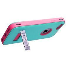 for APPLE iPhone 6 /6S ( REGULAR) GREEN PINK VERGE STAND COVER CASE+GLASS SCREEN