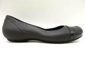 Crocs Logo Black Cap Toe Casual Slip On Flats Shoes Women's 8