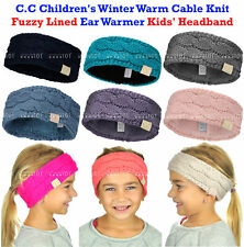 New! C.C Children's Kids' Winter Warm Cable Knit Fuzzy Lined Ear Warmer Headband