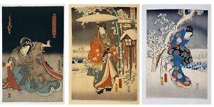 3x TOYOKUNI UTAGAWA Japanese Woodcut Portraits, NEW Fine Art Giclee Prints