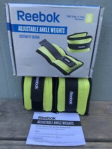 Brand New Reebok Toning Adjustable Ankle Weights (2) 2.5lb Each