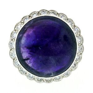 Vintage Platinum LARGE Round Double Cabochon Amethyst & 1.0ctw Diamond Halo Ring