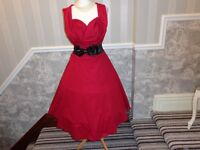 STUNNING RED 1950S STYLE LINDY BOP ROCKABILLY DRESS SIZE 18 CHRISTMAS PARTY