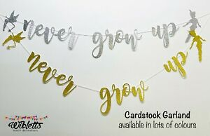 NEVER GROW UP PETER PAN TINKERBELL THEME BIRTHDAY PARTY BANNER CUPCAKE TOPPERS