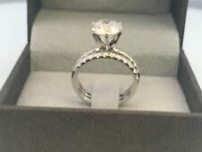REAL ESTATE APPRAISED BAND SET DIAMOND RING 18K WHITE GOLD ROUND SHAPE 2 CARAT