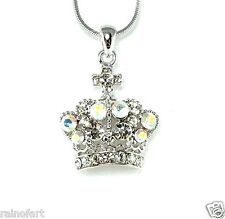 Crown W Swarovski Crystal AB Rhinestones Princes King Queen Pendant Necklace