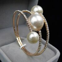Women Charm Rhinestone Crystal Pearl Cuff Bangle Bracelet Wristband Jewelry