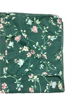Vintage Small Square Tablecloth Fabric Dark Green Pink Floral Print Luxury 40""