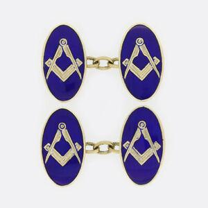 9ct Yellow Gold Masonic Blue Enamel Cufflinks