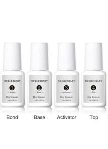 4PCS Nicole Nail Dipping Powder Bond Activator Top Base Dip Liquid System Set