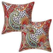 Indian Cotton Throw Pillow Covers Red 16 Inch Kantha Paisley Cushion Covers