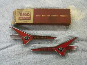 1956 Ford Car Thunderbird Engine Front Fender Emblems, NOS B6A-16229-A