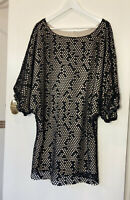 Shona Joy 12 black and tan laser cut dress with 3/4 sleeves