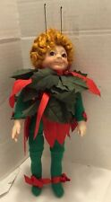 "vintage pixie elf red head woman doll Antenna 10"""