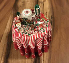 Dollhouse Miniature VTG. 92 Cheryl Warder Christmas Round Candy Party Table
